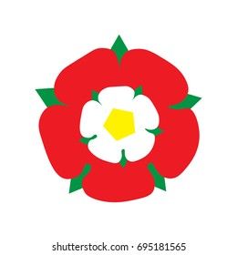 Vector Illustration: Tudor Rose made in a flat icon style. England emblem after the War of The Roses: combined the red rose of the house of Lancaster and the White rose of the house of York.