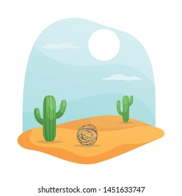 Vector illustration of tumbleweed and cactus icon. Collection of tumbleweed and west stock symbol for web.