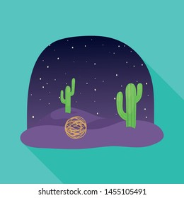 Vector illustration of tumbleweed and cactus icon. Set of tumbleweed and dry stock symbol for web.