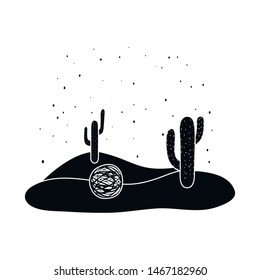Vector illustration of tumbleweed and cactus icon. Collection of tumbleweed and dry stock symbol for web.