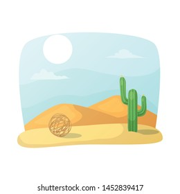 Vector illustration of tumbleweed and cactus logo. Set of tumbleweed and west stock symbol for web.