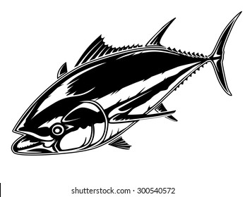 Vector illustration of tuna. Vector illustration can be used for creating logo and emblem for fishing clubs, prints, web and other crafts.