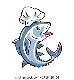 Vector illustration of tuna cartoon character wearing chef's hat.