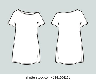 Vector illustration of tunic dress. Front and back
