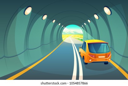 Vector illustration of tunnel with car, highway for vehicle. Grey asphalt with lighting in underground road. Hatchback rides for picnic in countryside, field with sky and mountains at the exit of way