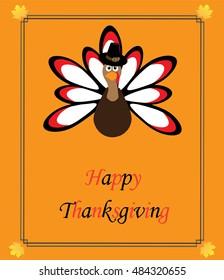 vector illustration of a turkey thanksgiving card