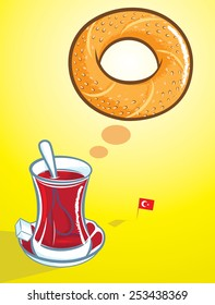 Vector illustration of Turkish bagel and a glass of traditional Turkish tea