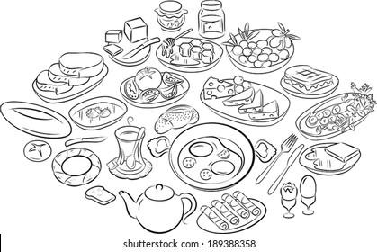vector illustration of turkish breakfast in line art mode