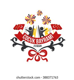vector illustration of the Turkish Children's Day celebration April 23, Turkish translation: cocuk baryrami 23 nisan
