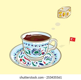 Vector illustration of Turkish coffee thinking of traditional Turkish delight with Turkish flag