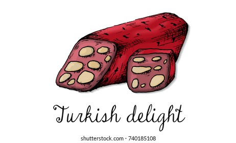 Vector Illustration of Turkish Delight Sweets Sketch Style