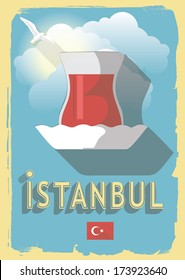 vector illustration turkish tea on retro style poster or postcard.