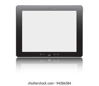 Vector illustration of the turned on computer tablet with reflection isolated on a white background, eps10
