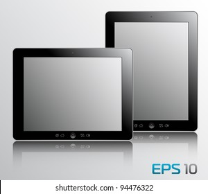 vector illustration of the turned on computer tablets with reflection, eps10