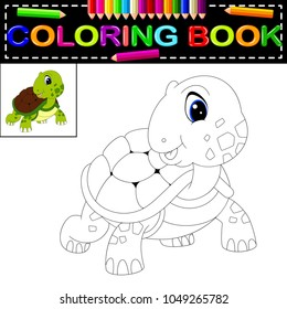 vector illustration of turtle coloring book