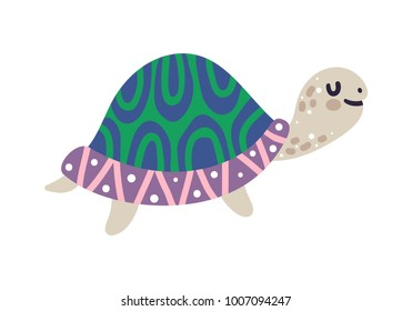 Vector illustration of turtle. Cute cartoon character is isolated on white.