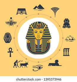 Vector illustration of Tutankhamen masks with various icons of sights and symbols of Egypt isolated on background. Set of icons around illustration drawn in flat style.