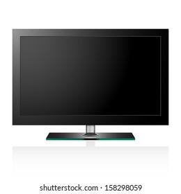 Vector illustration of TV flat black screen lcd