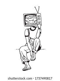 vector illustration of a tv instead of a head
