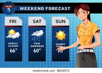 A vector illustration of a TV weather reporter at work