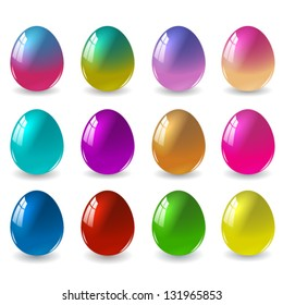 Vector illustration of twelve different colored easter eggs on a white background.