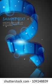 vector illustration of twisted filmstrip against abstract background