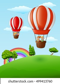 Vector illustration of  Two air balloons flying with happy kids