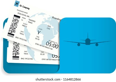 Vector illustration of two airline tickets or boarding pass inside of blue envelope.
