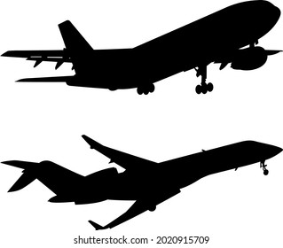 Vector illustration of two airplanes, Black silhouettes of aircraft and airplanes