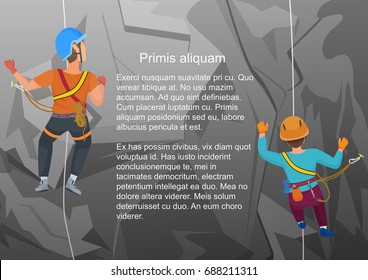 Vector illustration of two alpinists climbing on rock in back view.