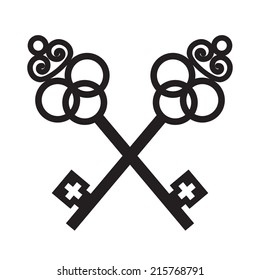 Vector illustration of two ancient crossed black keys on white background