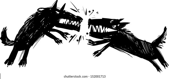 Vector Illustration of Two Angry Fighting Wolves Baring their Teeth