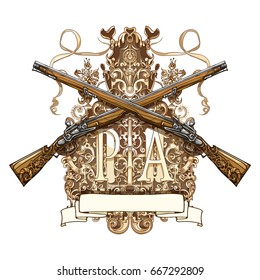 Vector illustration, two antique flintlock guns. Decorated background with stylistic carvings and floral ornaments. Template for print, tattoos