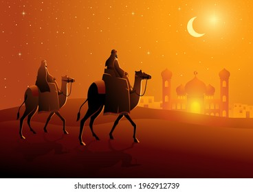 Vector illustration of two Arab men riding camels in the desert, night landscape for Ramadan and Islamic theme