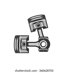 vector illustration of two automotive piston on a white background