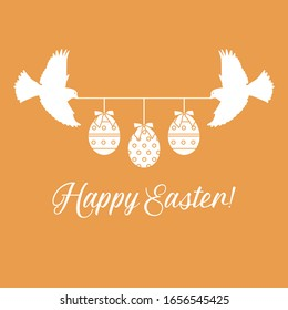 Vector illustration Two birds hold rope with decorated Easter eggs with bows,inscription Happy Easter on color background. Festive background. Surprise Design for banner, poster or print