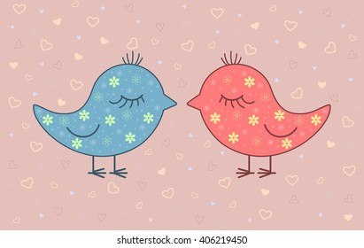 Vector illustration of two birds on pink background with hearts