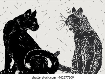 Vector illustration of two black cats communicating, isolated over light gray colored background with thin dark lines.