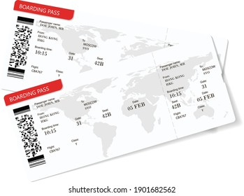 Vector illustration of two boarding pass. Red flight airline tickets. The boarding pass contains fictitious data in the text. Travelers need to have paper boarding pass tickets for travel by plane