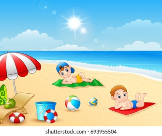 Vector illustration of Two boy sunbathing on the beach mat