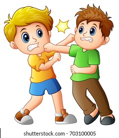 Vector illustration of two boys fighting