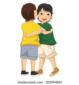 Vector Illustration of  Two Boys Hugging Each Other