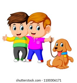 vector illustration of two boys with pet dog