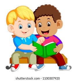 vector illustration of two boys reading book on bench