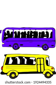 Vector illustration of two buses. Yellow and Violet color buses with white background.