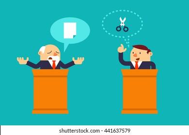 Vector illustration Two Businessman situation, Debate opponents, Rock Paper Scissors.