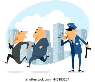 Vector illustration of a two businessmen running