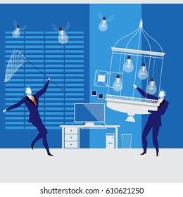 Vector illustration of two businessmen trying to catch light bulbs with wings and to put them in a cage like birds.