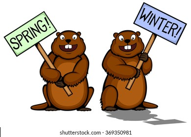 Vector illustration of two cartoon groundhogs, one seeing his shadow and lobbying for winter, one hoping for spring.