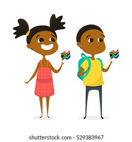 Vector illustration of two cartoon kids with the flags of South Africa. Boy and girl characters. Isolated on white background. Icon for web.